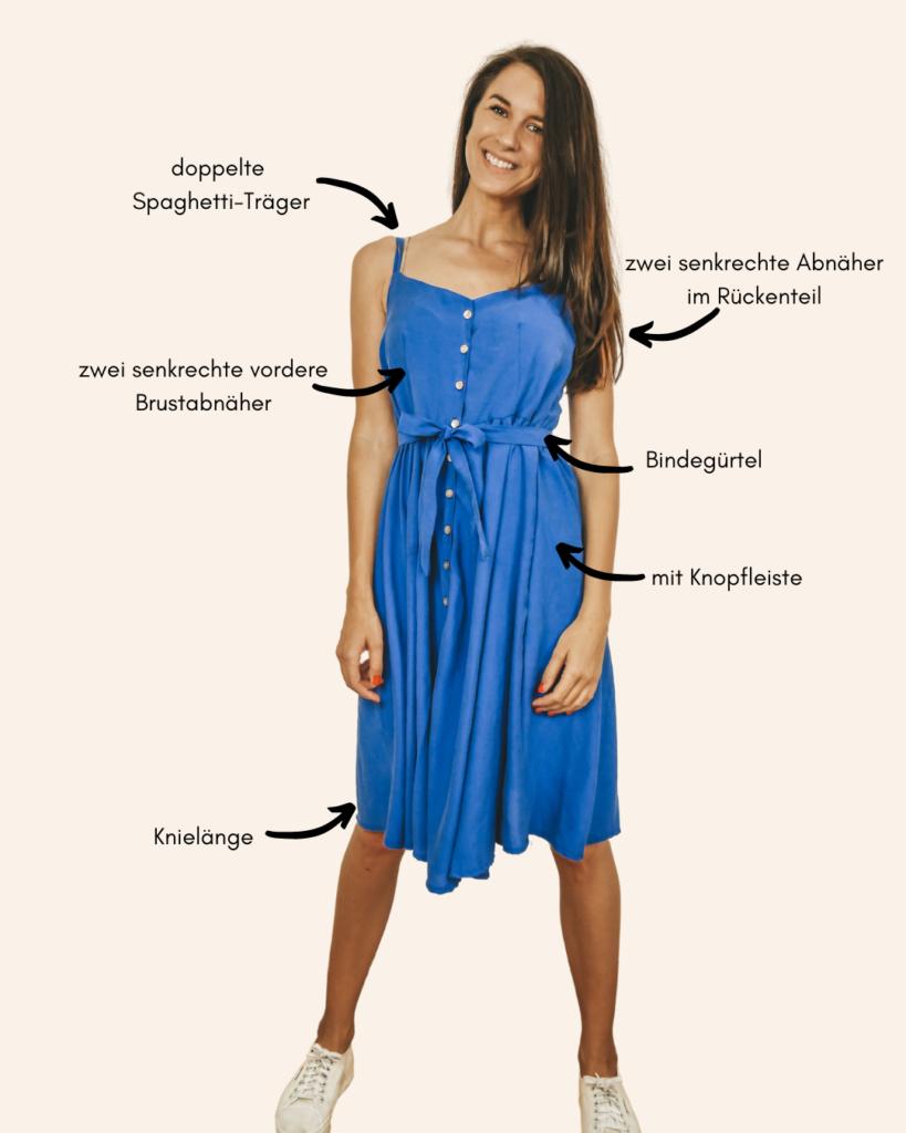 MARISOL Schnittmuster für ein Maxikleid, knielange Variante