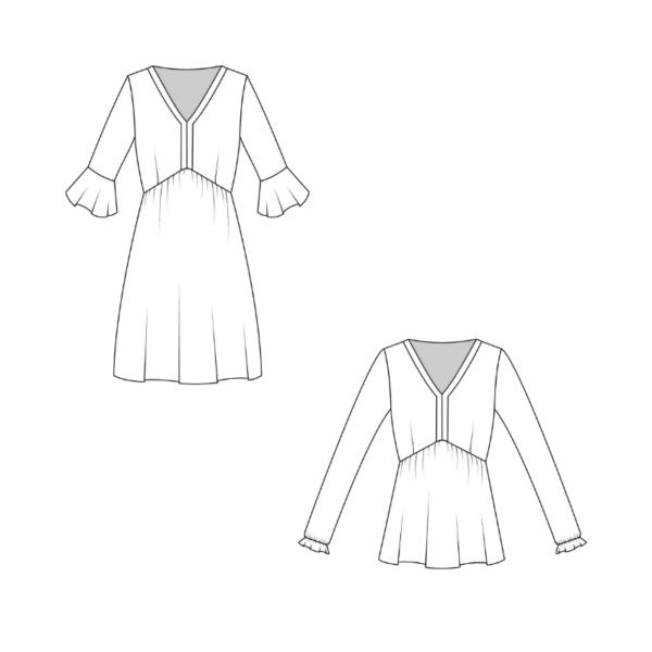 Technische Zeichnung Schnittmuster Bohokleid Valentina La Bavarese