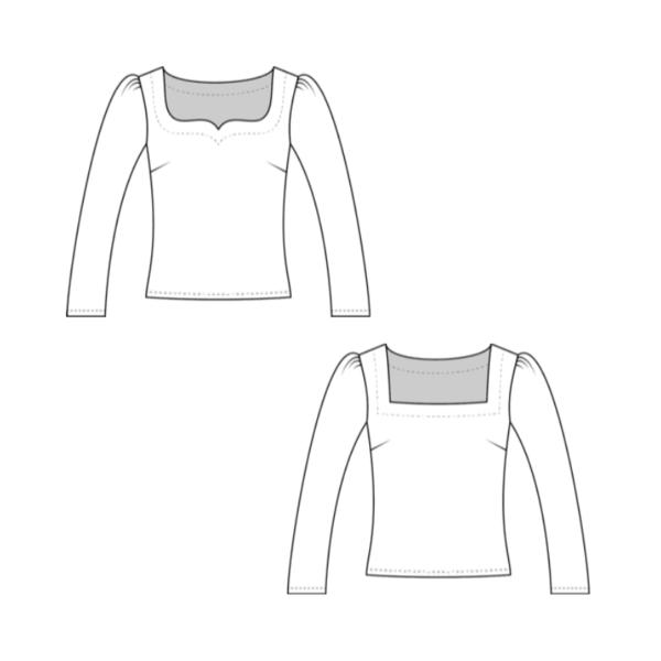 Technische Zeichnung Schnittmuster Jersey Shirt Camila La Bavarese