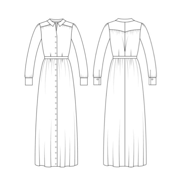 Technische Zeichnung Schnittmuster Hemdblusenkleid Olivia