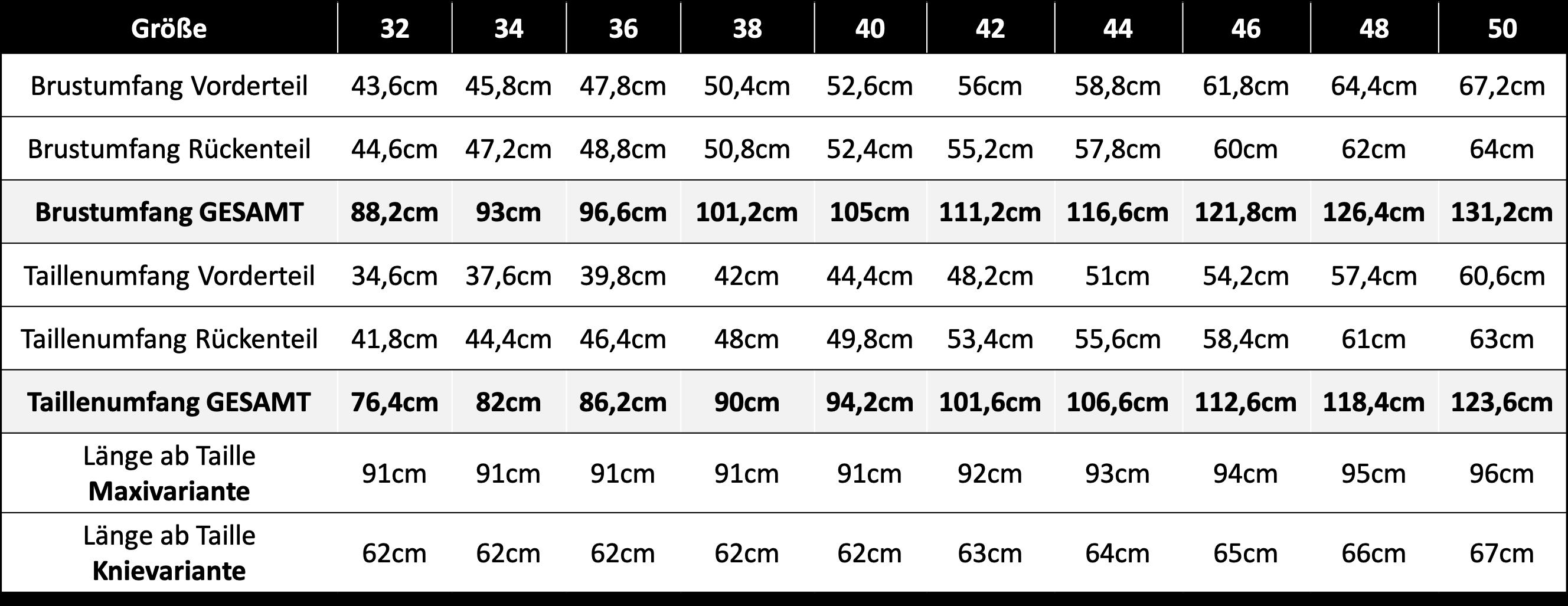 Fertigmaßtabelle OLIVIA Langgröße