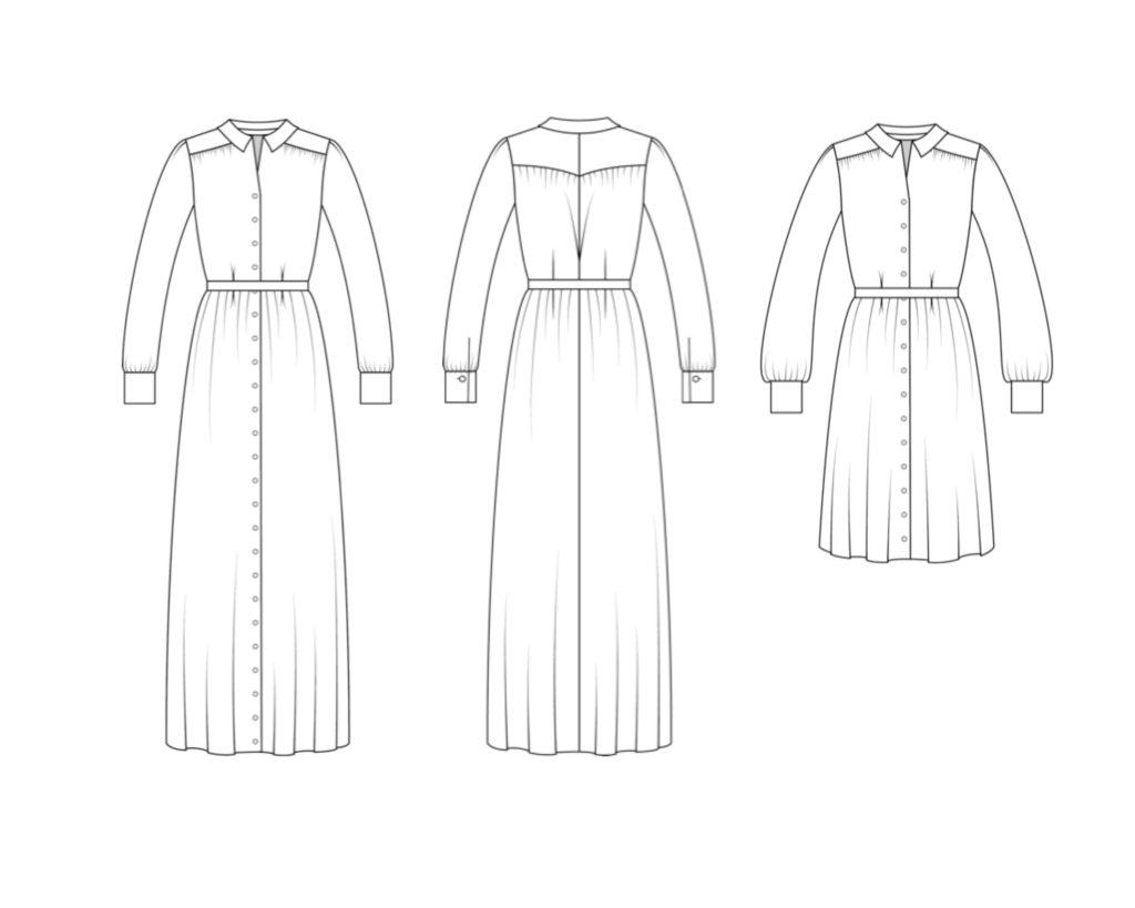 Schnittmuster Hemdblusenkleid Olivia technische Zeichnung